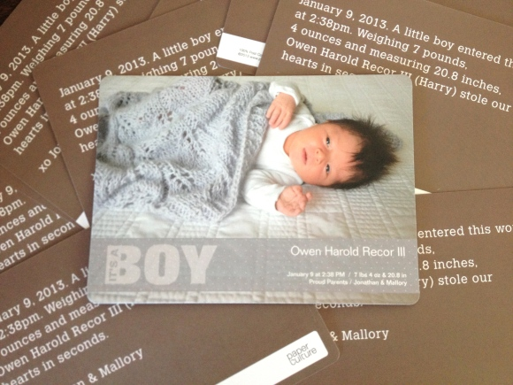Paper Culture Birth Announcement