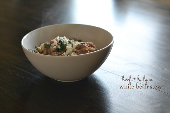 beef bulgur white bean stew